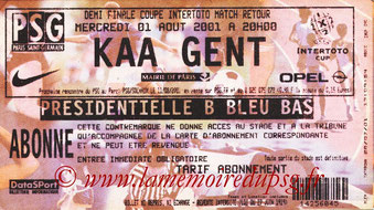 Ticket  PSG-Genk  2001-02