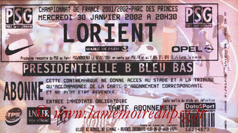 Ticket  PSG-Lorient  2001-02