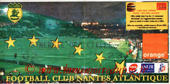Ticket  Nantes-PSG  2001-02