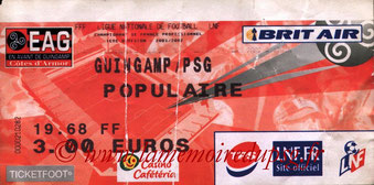 Ticket  Guingamp-PSG  2001-02