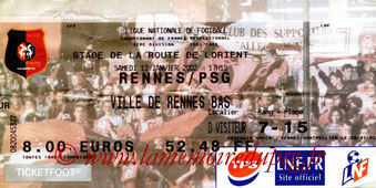 Ticket  Rennes-PSG  2001-02