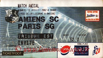 Ticket  Amiens-PSG  2002-03