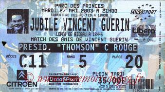 Ticket  Jubilé Vincent Guérin  2002-03
