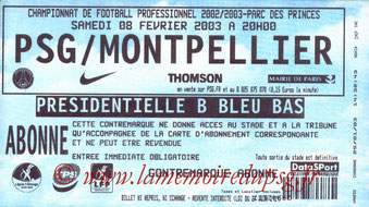 Ticket  PSG-Montpellier  2002-03
