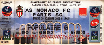 Ticket  Monaco-PSG  2002-03