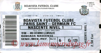 Ticket  Boavista-PSG  2002-03