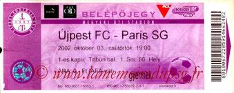 Ticket  Ujpest-PSG  2002-03