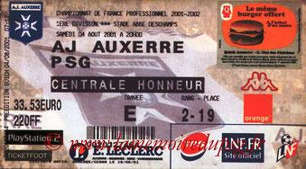 Ticket  Auxerre-PSG  2001-02