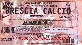 Ticket  PSG-Brescia  2001-02