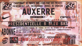 Ticket  PSG-Auxerre  2001-02