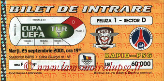 Ticket  Rapid Bucarest-PSG  2001-02