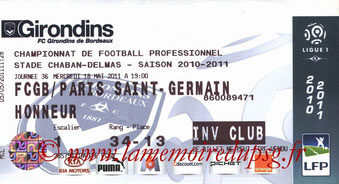 Ticket  Bordeaux-PSG  2010-11