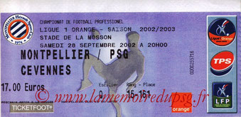 Ticket  Montpelllier-PSG  2002-03