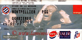 Ticket  Montpellier-PSG  2001-02