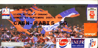 Ticket  Caen-PSG  2001-02