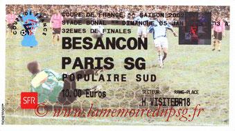 Ticket  Besançon-PSG  2002-03
