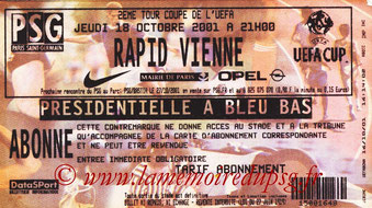 Ticket  PSG-Rapid Vienne  2001-02