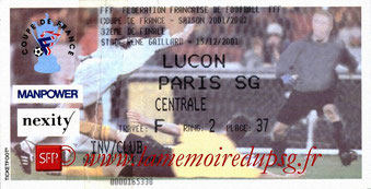 Ticket  Luçon-PSG  2001-02