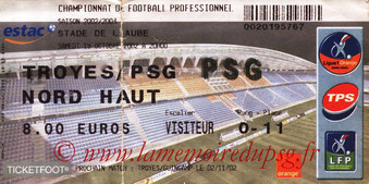 Ticket  Troyes-PSG  2002-03