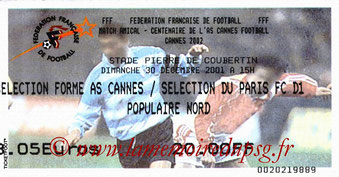 Ticket  Cannes-PSG  2001-02