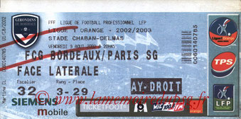Ticket  Bordeaux-PSG  2002-03