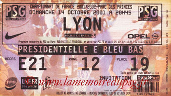 Ticket  PSG-Lyon  2001-02