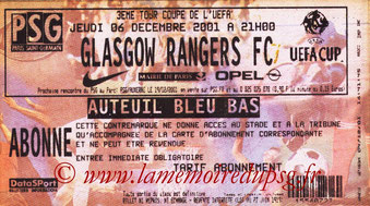 Ticket  PSG-Rangers  2001-02