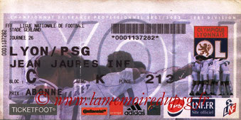Ticket  Lyon-PSG  2001-02