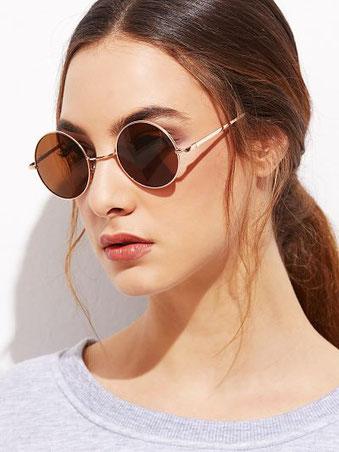 gafas redondas, gafas marco dorado, outfits de primavera, comprar gafas de sol economicas, comprar gafas de sol on line,