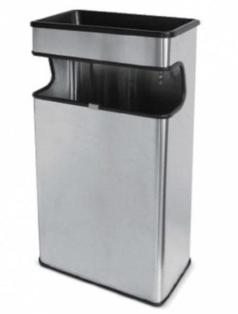 Basurero rectangular inoxidable BI70490 Color: Inoxidable satinado Dimensiones en milímetros: Alto: 650 Largo: 320 Ancho: 182 Capacidad: 27 L / 7 gl Contenido por caja: 4 piezas