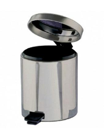 Papelera pequeña de pedal con depósito IYL1003 Color: Acero brillante con interior negro Dimensiones en milímetros: Diámetro: 170 Alto: 270 Capacidad: 3.0 L / 0.75 gl Contenido por caja: 1 pieza