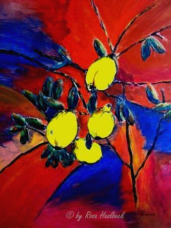 Acrylbild, acryl, zitronen, baum, zitronenbaum,  orange, rot, gelb, blau, braun, grün,bild, malen, malerei, kunst, geko, dekoration, wandbild, abstrakt