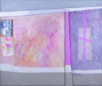 "Popov, Victor, ""Fenster"", Öl, Holz, Papier auf Leinwand, 75 x 94 cm, 1998"