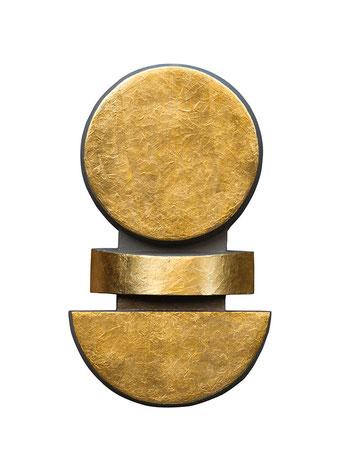 """Попов, Виктор, """"Золотое солнце"""", акрил, золото, фанера, 63 х 37, 5 х 8 см, 2013"""