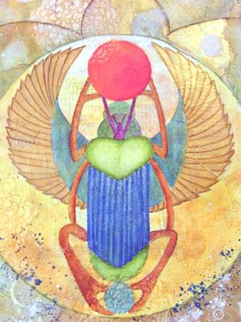 mandala - scarabée (mixte sur toile 50x50cm - vendu) @B.Dupuis 2020