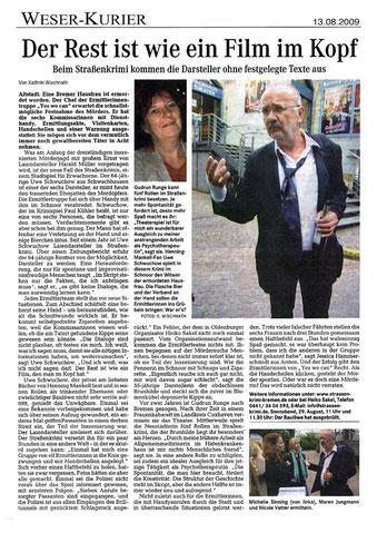 """Zeitungsartikel im Bremer Weserkurier: """"Der Rest ist wie ein Film im Kopf""""- Quelle: Wischnath, Kathrin; Weserkurier"""