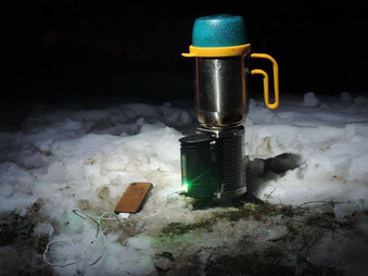 Hot tea and power for our mobile phones. Our Biolite stove in action. Sanalia Bowl, 08/01/2016.