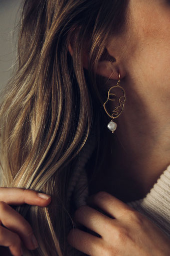 Schmuck Kollektion GOLDEN AGE - Earrings Isis Face - Nicola Hahn