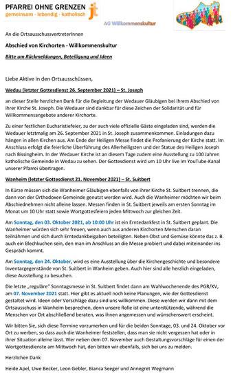Brief der AG Willkommenskultur zur Schließung der Kirchen in Wedau und Wanheim