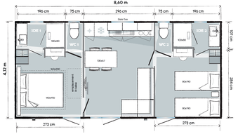 Plan Mobil Home Lux 2 ch - Camping Gers Arros
