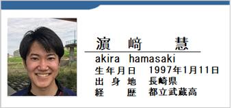 濵﨑慧/akira hamasaki/長崎県/ラグビー歴:都立武蔵高