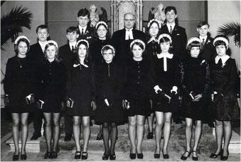 Konfirmation in Flehingen 1970 mit Pfarrer Wiederkehr