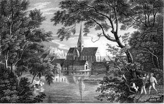 Stahlstich von Blaubeuren um 1840