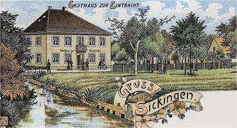 handkolorierte Ansichtskarte von Sickingen