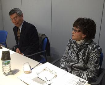 ☆テレビ朝日打合室で、左側「コンピューターおばあちゃんの会」代表の大川加世子様(85歳)。世田谷のご自宅をシニアに開放されパソコンやタブレットのご指導。