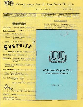 ☆43年前のWelcome Wagon Clubの名簿(水色)とお知らせ(黄色)。