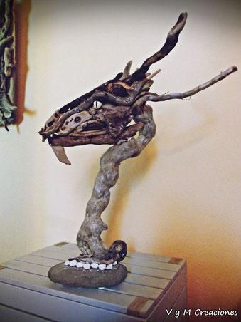 madera de mar, escultura madera, driftwood art, driftwood, espejo madera de mar, dragon madera deriva, vymcreaciones.com, vymcreaciones.com