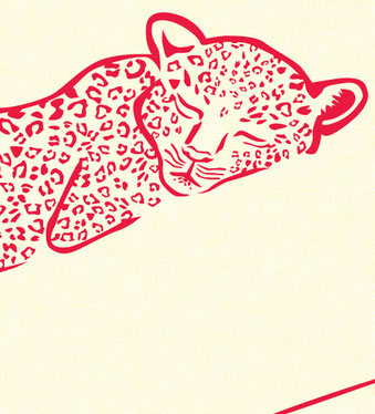 Leopard vinyl sticker lying on a branch close up showing the spot shape detail and sleeping