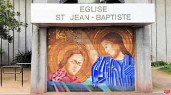 Céramique du baptême du Christ par Jean-Baptiste à Vélizy-Villacoublay.