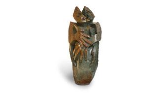"""Große schwere Shona Art Stein Garten Skulptur """"Seelenverwandt"""" handgefertigt aus braunem Opal Stein. H. 80 cm, 85 kg.   © NEUERRAUM"""